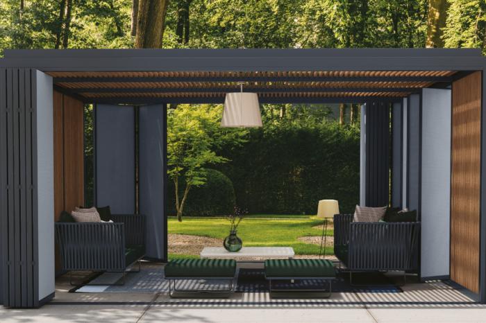 Moderne Pergola mit Lounge-Möbeln